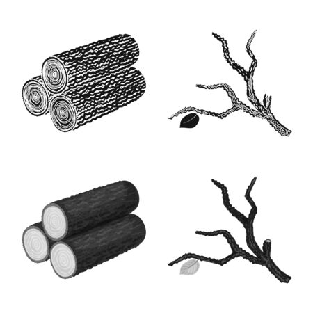 Isolated object of tree and raw icon. Collection of tree and construction stock vector illustration.