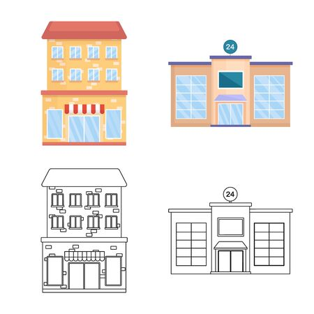 Isolated object of municipal and center. Collection of municipal and estate vector icon for stock.