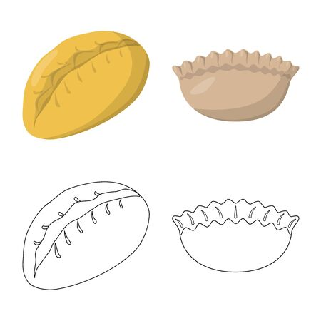 Vector illustration of products and cooking symbol. Set of products and appetizer stock symbol for web.