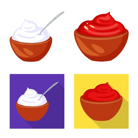 Vector design of taste and product icon. Set of taste and cooking stock vector illustration.