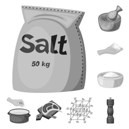 Vector design of salt and food symbol. Collection of salt and mineral vector icon for stock. 写真素材 - 129398112