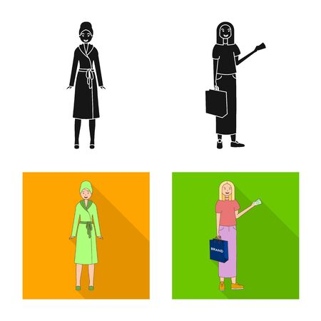 Vector illustration of posture and mood sign. Set of posture and female stock vector illustration.