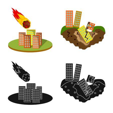 Vector illustration of weather and distress sign. Set of weather and crash vector icon for stock. Ilustração