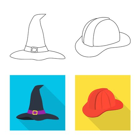 Vector design of clothing and cap symbol. Collection of clothing and beret stock vector illustration.