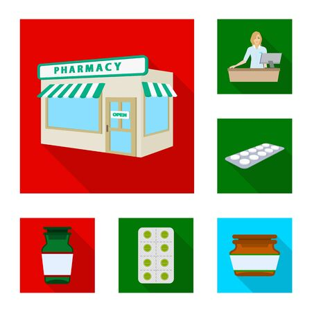 Vector illustration of hospital and help symbol. Collection of hospital and healthcare vector icon for stock. Çizim
