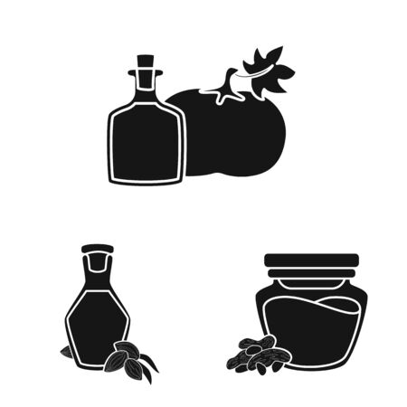 Vector design of oil and agriculture symbol. Collection of oil and glass stock vector illustration.
