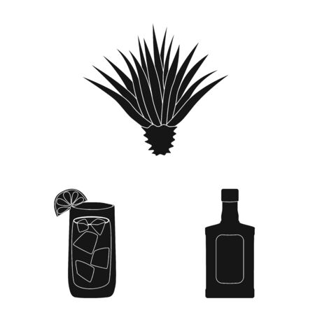 Vector illustration of carnival and national logo. Set of carnival and tequila vector icon for stock. 向量圖像