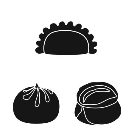 Vector design of cuisine and appetizer logo. Set of cuisine and food stock symbol for web.