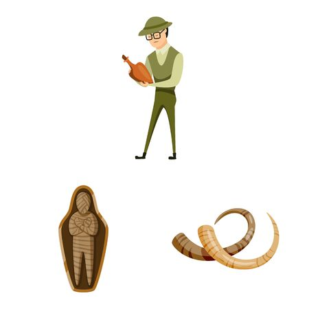 Vector illustration of archaeology and historical icon. Set of archaeology and excavation stock vector illustration.
