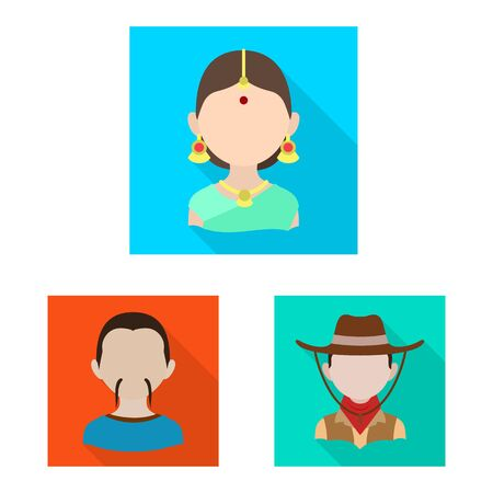 Vector illustration of nation and race icon. Set of nation and user vector icon for stock.