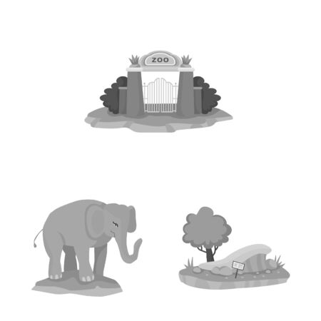 Vector illustration of zoo and park logo. Set of zoo and animal vector icon for stock.