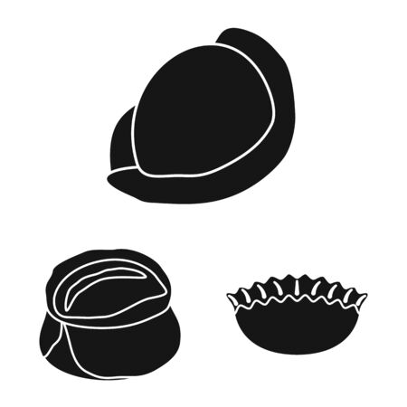 Vector illustration of cuisine and appetizer logo. Collection of cuisine and food vector icon for stock.