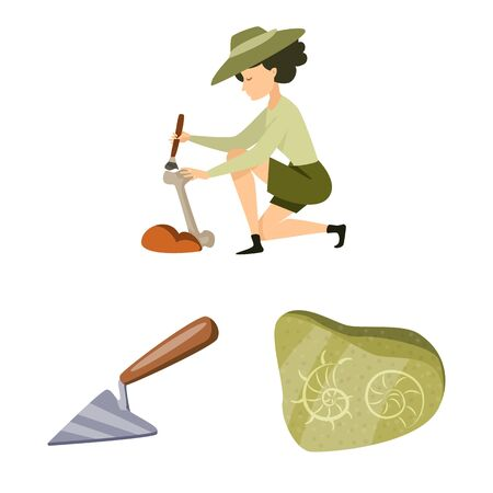 Isolated object of archaeology and historical icon. Collection of archaeology and excavation vector icon for stock.  イラスト・ベクター素材