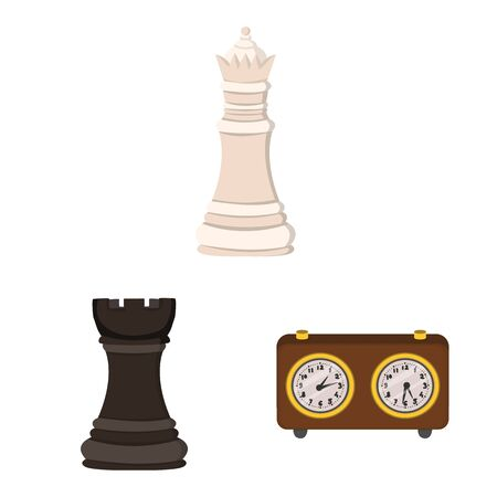 Vector illustration of chess and game sign. Collection of chess and strategy vector icon for stock.