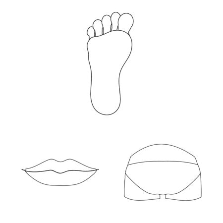 Isolated object of body and part logo. Collection of body and anatomy stock symbol for web. 일러스트