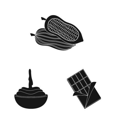 Vector design of cooking and brown symbol. Set of cooking and beans stock symbol for web. Foto de archivo - 129444096