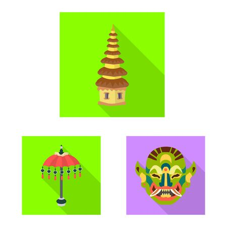 Isolated object of travel and tourism icon. Collection of travel and island stock symbol for web. Illusztráció