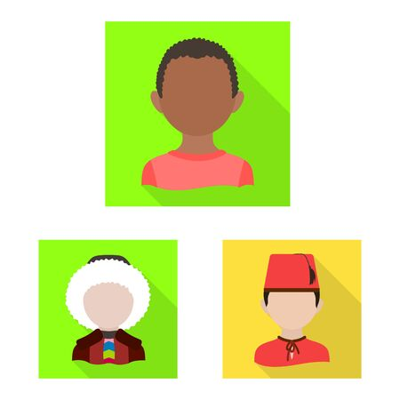 Vector design of nation and race icon. Set of nation and user vector icon for stock.