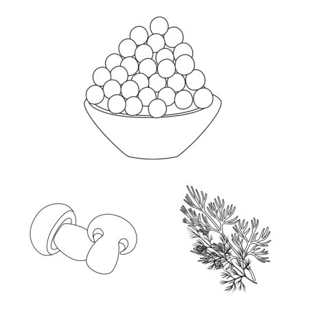 Vector illustration of seasonin and ingredient symbol. Collection of seasonin and aroma stock symbol for web.