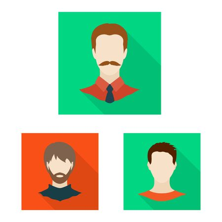 Vector illustration of avatar and dummy symbol. Set of avatar and figure stock vector illustration.