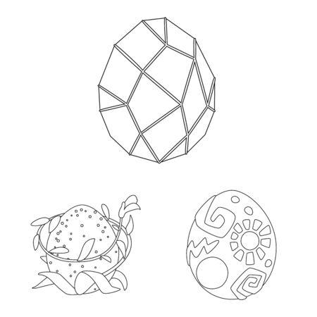 Vector design of dinosaur and magic symbol. Set of dinosaur and fantasy stock vector illustration.