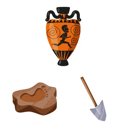 Isolated object of archaeology and historical symbol. Set of archaeology and excavation stock vector illustration. Çizim