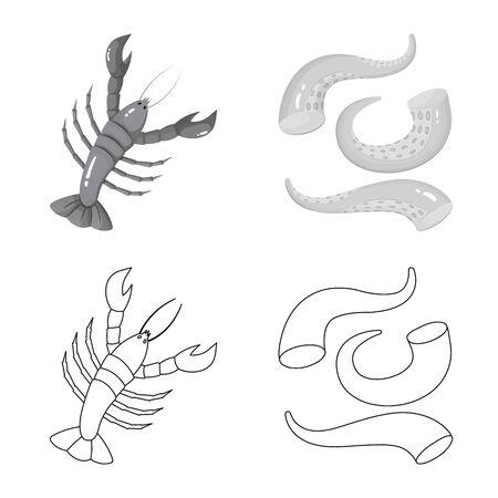 Vector illustration of fresh and restaurant sign. Collection of fresh and marine vector icon for stock. Illustration