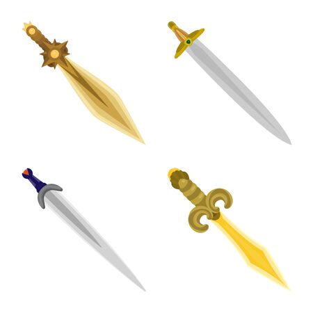 Vector design of sword and dagger logo. Collection of sword and weapon stock symbol for web.