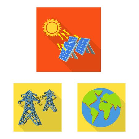 Vector design of Solar and panel logo. Collection of Solar and green vector icon for stock.  イラスト・ベクター素材