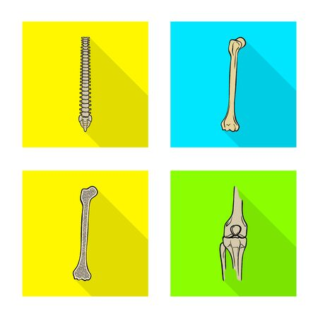 Vector illustration of bone and skeleton logo. Set of bone and human vector icon for stock.