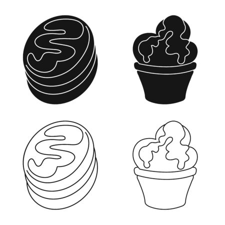 Vector illustration of confectionery and culinary symbol. Set of confectionery and product stock symbol for web. Иллюстрация