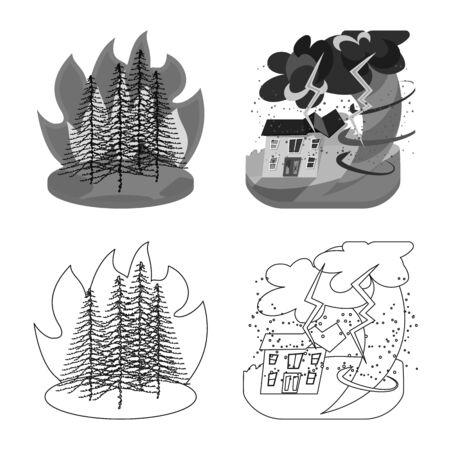 Vector illustration of weather and distress icon. Set of weather and crash vector icon for stock. Illusztráció