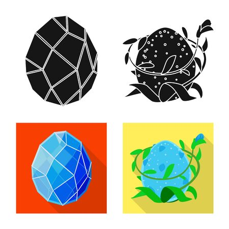 Vector design of animal and prehistoric icon. Set of animal and cute stock symbol for web.