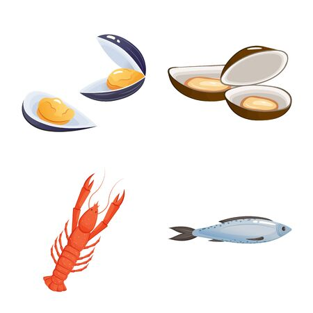 Isolated object of food and sea icon. Set of food and healthy stock vector illustration.