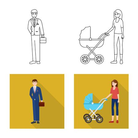 Vector illustration of character and avatar sign. Set of character and portrait stock symbol for web.