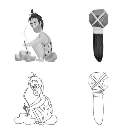 Vector design of evolution and prehistory symbol. Set of evolution and development vector icon for stock.  イラスト・ベクター素材