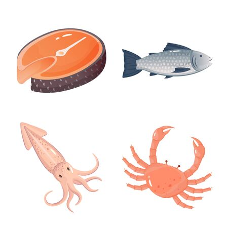 Vector illustration of food and sea symbol. Collection of food and healthy vector icon for stock.