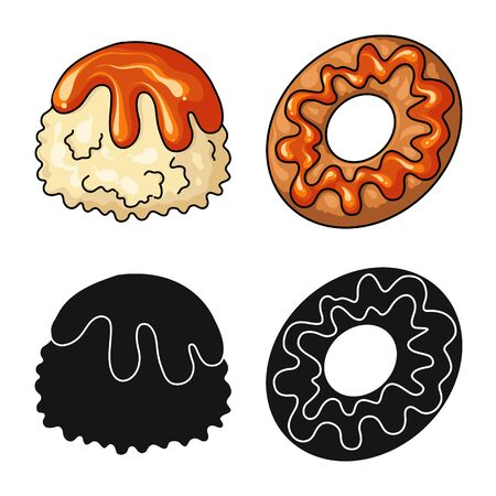 Vector illustration of confectionery and culinary symbol. Collection of confectionery and product stock vector illustration.