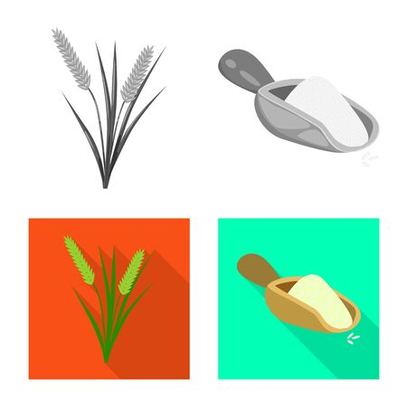 Vector design of crop and ecological symbol. Set of crop and cooking stock vector illustration.