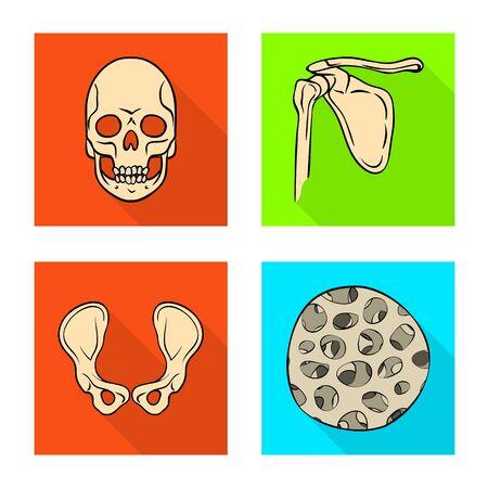 Isolated object of bone and skeleton symbol. Set of bone and human stock symbol for web. Ilustração
