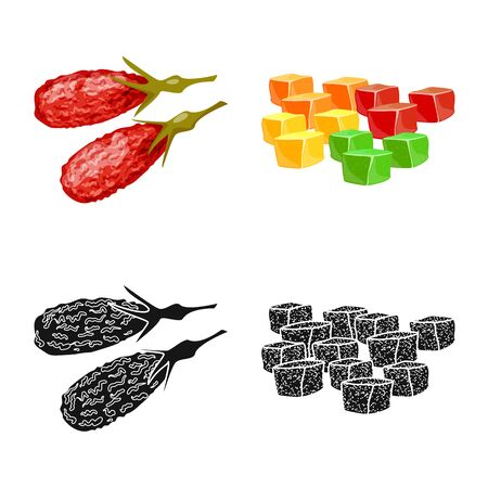 Isolated object of food and raw symbol. Collection of food and nature stock symbol for web. Çizim