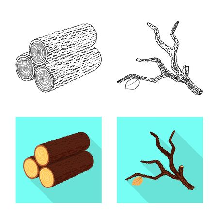 Isolated object of tree and raw icon. Set of tree and construction vector icon for stock. Çizim