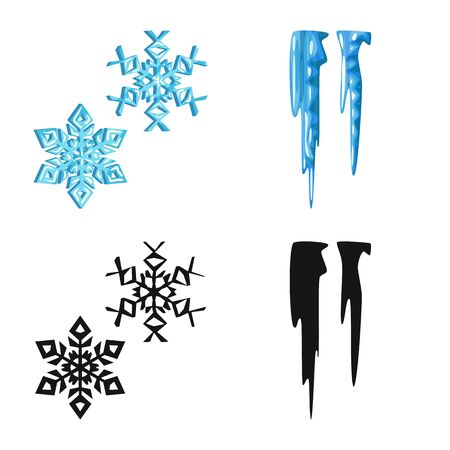 Vector design of texture and frozen icon. Collection of texture and transparent stock symbol for web.
