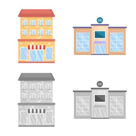 Vector illustration of municipal and center icon. Set of municipal and estate vector icon for stock.