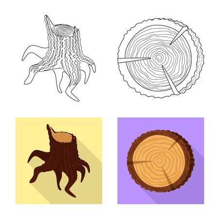 Isolated object of tree and raw icon. Collection of tree and construction vector icon for stock.