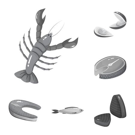 Isolated object of seafood and healthy sign. Collection of seafood and ocean vector icon for stock.