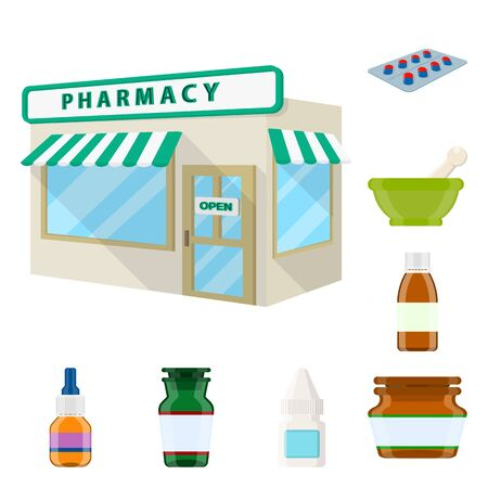 Vector design of pharmacy and pharmaceutical icon. Collection of pharmacy and health stock symbol for web. 写真素材 - 129447066