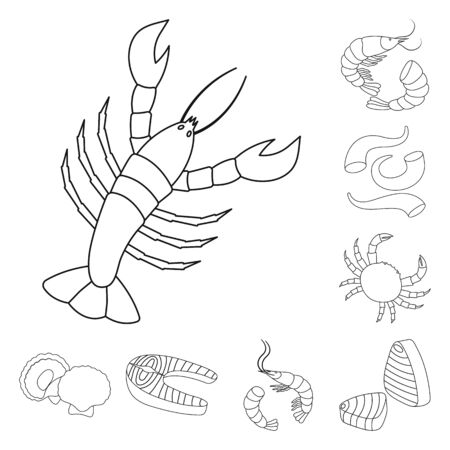 Vector illustration of food and sea logo. Set of food and healthy vector icon for stock. Illustration