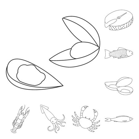 Vector illustration of food and sea icon. Set of food and healthy stock vector illustration.