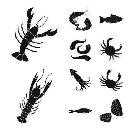 Vector design of market and marine symbol. Set of market and sea stock vector illustration. Illustration